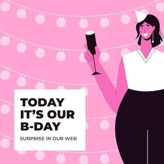 Publicación de instagram de cumpleaños de patrón creativo