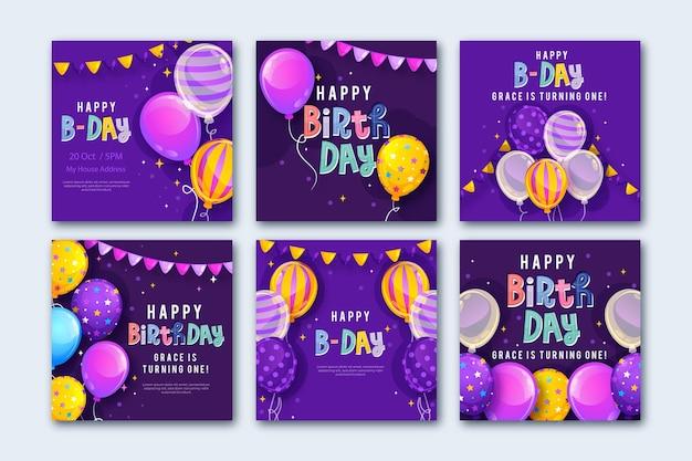 Publicación de instagram de cumpleaños púrpura duotono moderno