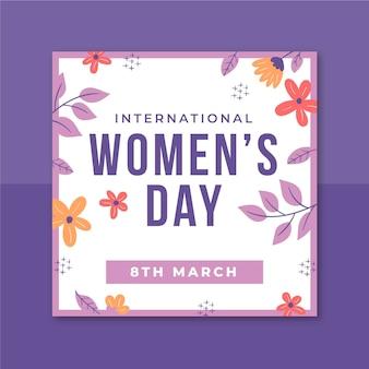 Publicación de instagram del día de la mujer minimalista floral