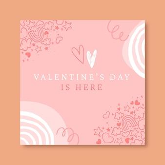 Publicación de instagram del día de san valentín garabatos