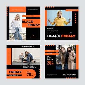 Publicación de instagram de diseño plano negro y naranja