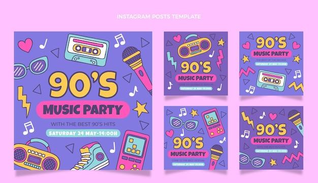 Publicación de instagram del festival de música de los 90 dibujada a mano