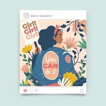 Publicación de instagram floral colorida del día de la mujer
