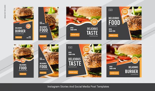 Publicación de instagram de hamburguesas de comida, banner de historias