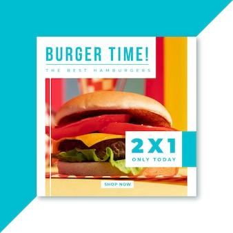 Publicación de instagram de hamburguesas de comida rápida