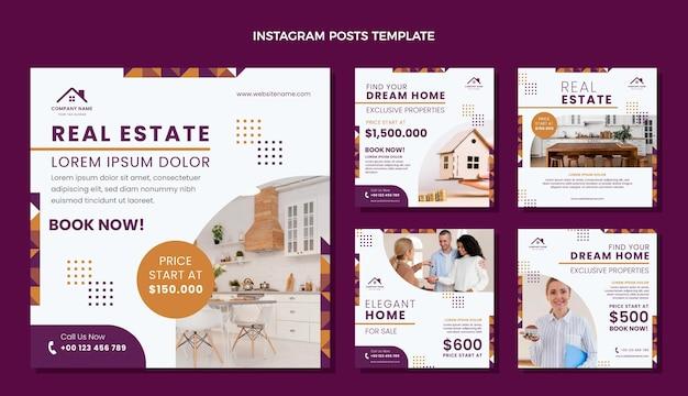 Publicación de instagram de inmobiliaria geométrica de diseño plano