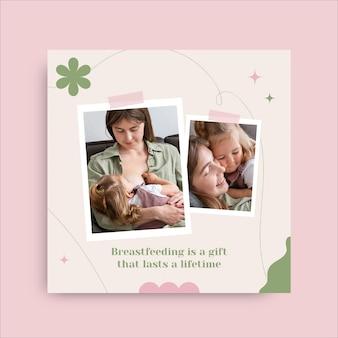 Publicación de instagram de lactancia materna duotono