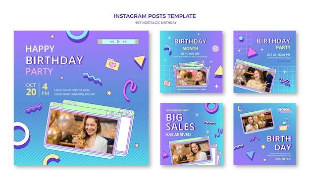 Publicación de instagram nostálgica de cumpleaños plana de los 90