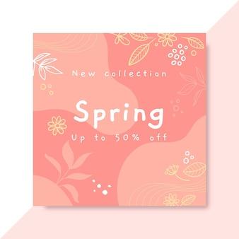 Publicación de instagram de primavera monocromática de doodle