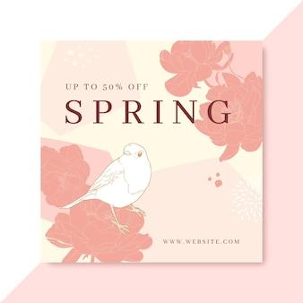 Publicación de instagram de primavera realista dibujada a mano