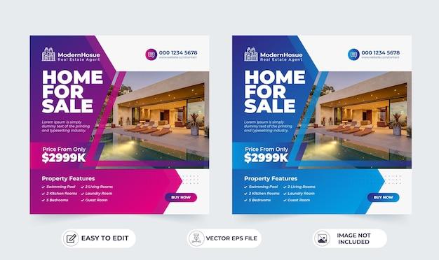 Publicación de instagram de propiedad de casa de bienes raíces o plantilla de publicidad de banner web cuadrado
