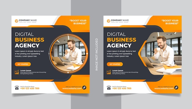 Publicación de instagram de redes sociales de agencia de negocios corporativos o banner web de marketing digital
