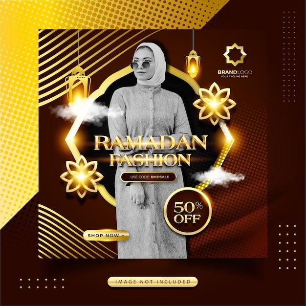 Publicación de instagram de redes sociales de moda de ramadán de oro de lujo