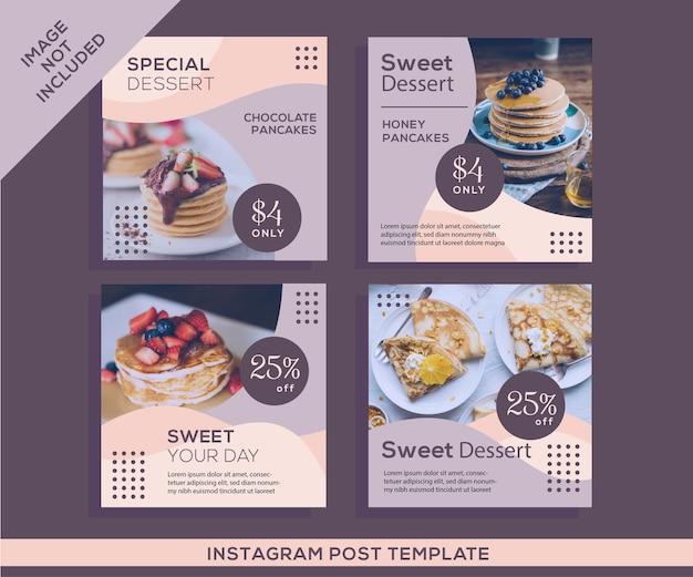 Publicación de instagram de redes sociales de postre