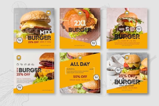 Publicación de instagram de restaurante de hamburguesas