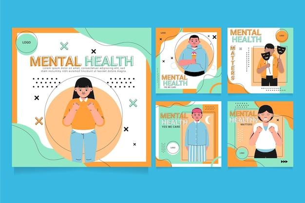 Publicación de instagram de salud mental dibujada a mano
