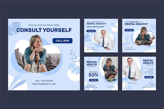 Publicación de instagram de salud mental de diseño plano