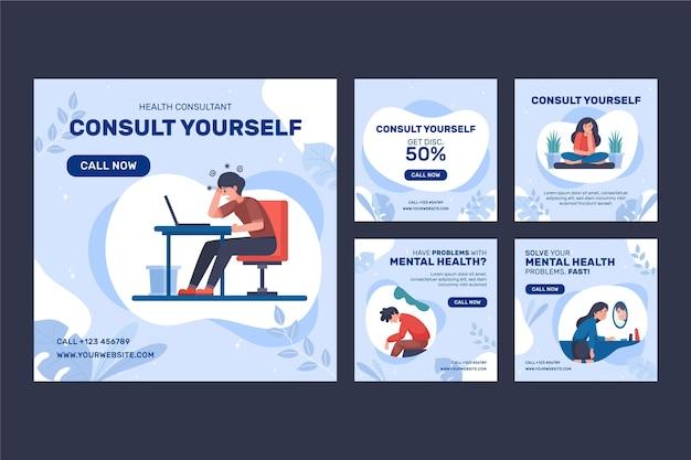 Publicación de instagram de salud mental de estilo plano
