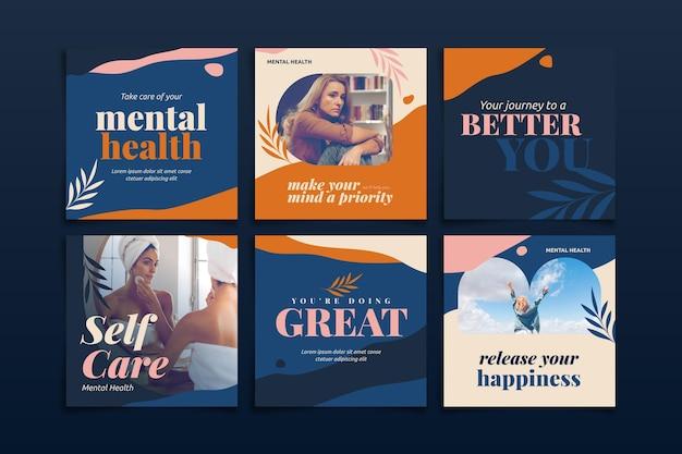 Publicación de instagram de salud mental plana con foto