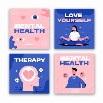 Publicación de instagram de salud mental plana