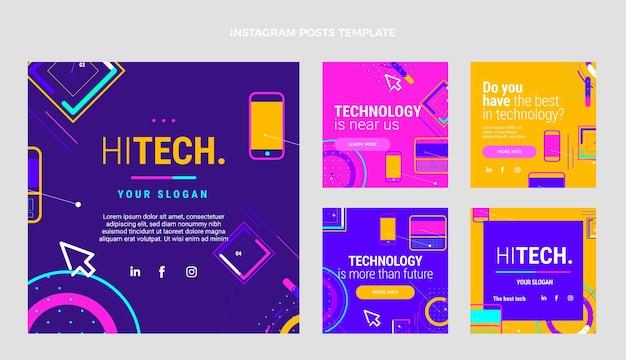 Publicación de instagram de tecnología minimalista plana