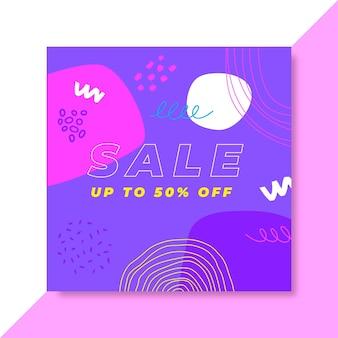 Publicación de instagram de ventas colorida dibujada a mano