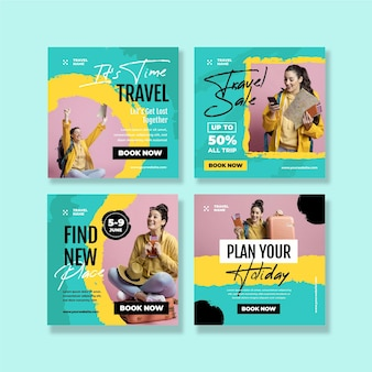 Publicación de instagram de viajes con pinceladas