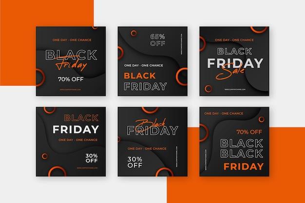 Publicación de instagram de viernes negro de diseño plano