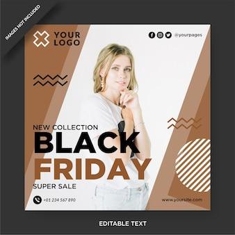 Publicación de instagram de viernes negro y diseño de publicación de redes sociales