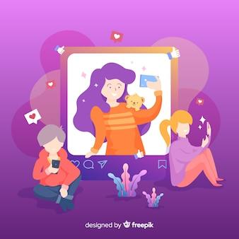 Publicación en línea del concepto selfie