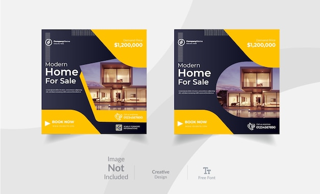 Publicación de marketing de instagram de bienes raíces y plantilla de diseño de publicación de redes sociales