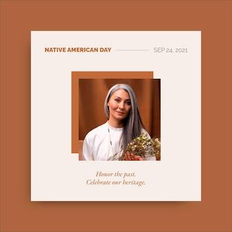 Publicación minimalista del día de los nativos americanos en instagram