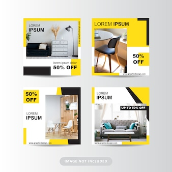 Publicación minimalista de muebles modernos en redes sociales