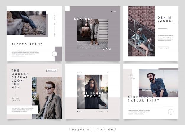Publicación minimalista de redes sociales de moda urbana
