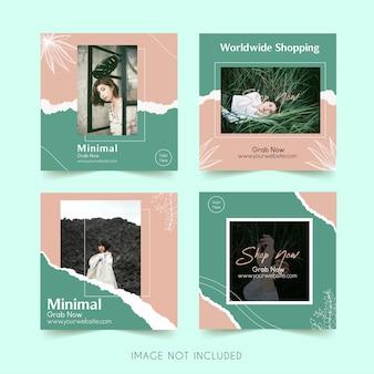Publicación de paquete de plantilla de instagram de redes sociales de moda minimalista