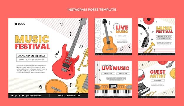 Publicación plana minimalista del festival de música ig