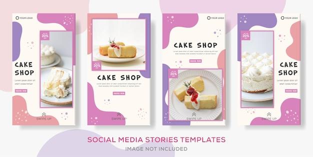 Publicación de plantilla de historias de banner de paquete de pastel.