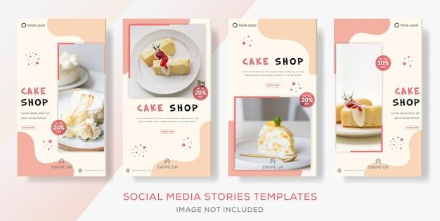 Publicación de plantilla de historias de colección de banner de negocios de pastelería.