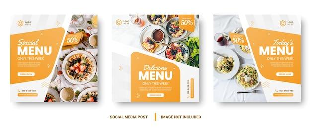 Publicación de redes sociales de banner de menú de comida. plantillas de redes sociales editables para promociones en el menú de alimentos. conjunto de historias de redes sociales y marcos de publicaciones. diseño de maquetación para marketing en redes sociales.