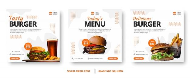 Publicación de redes sociales de banner de menú de comida.