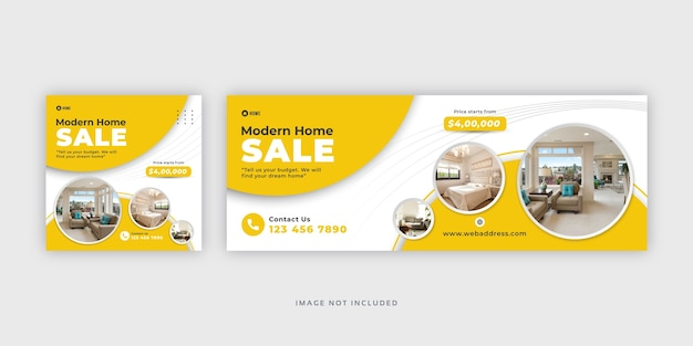Publicación de redes sociales de banner de venta de casas inmobiliarias con portada de facebook