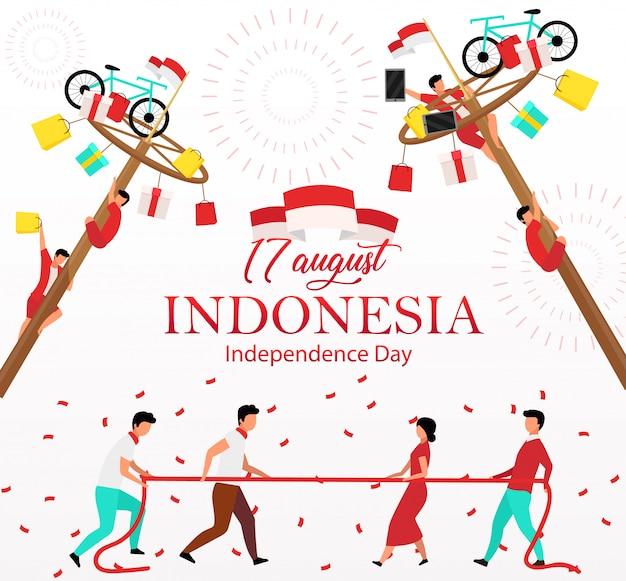 Publicación en las redes sociales del día de la independencia de indonesia. celebración nacional plantilla de banner web publicitario. potenciador de redes sociales, diseño de contenido. cartel de promoción, anuncios impresos, ilustraciones.