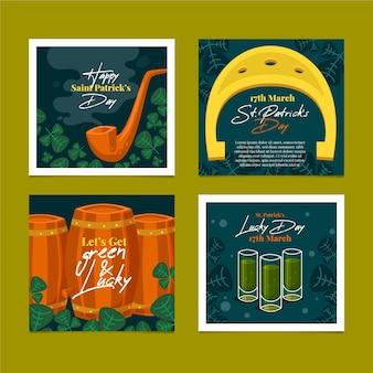 Publicación de redes sociales del día de san patricio con cerveza
