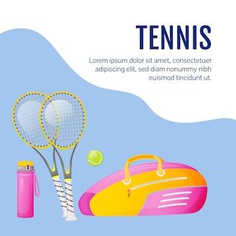 Publicación de redes sociales de equipo deportivo. artículos de tenis. plantilla de diseño de banner web. equipamiento deportivo profesional