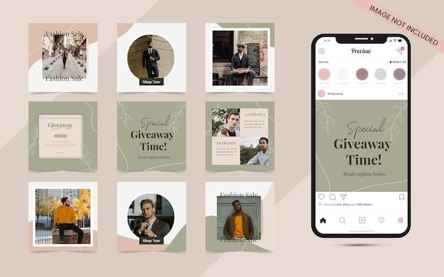Publicación en redes sociales en forma de rompecabezas de marco cuadrado para promoción de venta de moda