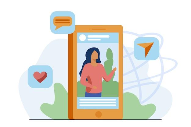 Publicación en redes sociales con imagen. blogger, video, me gusta, compartir, volver a publicar ilustración vectorial plana. comunicación, influencer de marketing