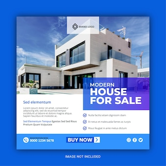Publicación de redes sociales de instagram de bienes raíces o plantilla de publicidad de banner web cuadrado