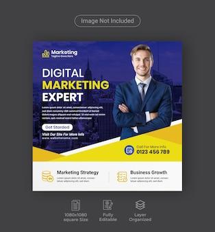 Publicación en redes sociales de marketing digital o folleto comercial cuadrado