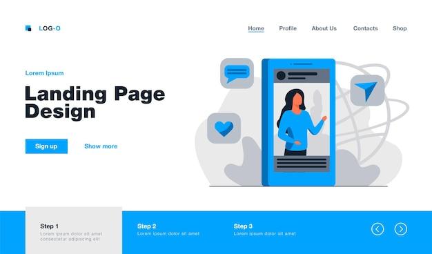 Publicación en redes sociales con página de inicio de imagen en estilo plano