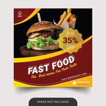 Publicación de redes sociales de plantilla de comida rápida